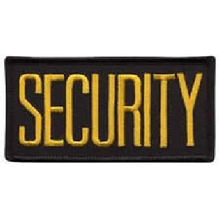 "Security - Med Gold On Black - 4 X 2"" - Sew-On-"