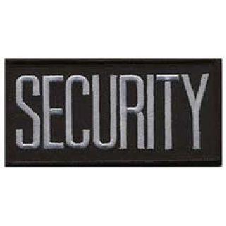 "Security - Dark Grey On Black - 4 X 2"" - Sew-On-"