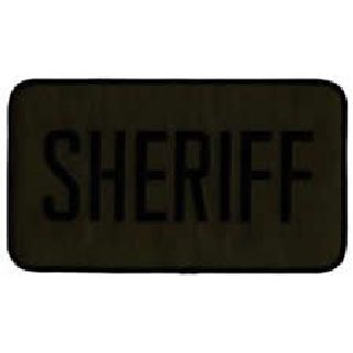 "Sheriff - Back Patch - Black On O.D. Twill - 9 X 5""-Hero's Pride"