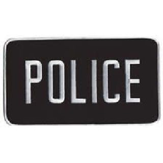 "Police - White On Black - Back Patch - 9 X 5""-"