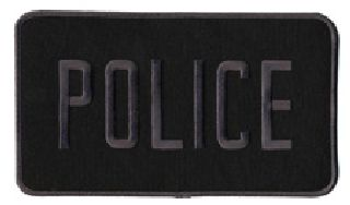 Police - Grey On Black - Back Patch - 9 X 5""