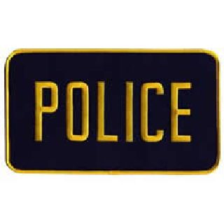 Police - Med Gold On Navy - Back Patch - 9 X 5""