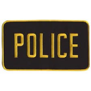 "Police - Med Gold On Black - Back Patch - 9 X 5""-"