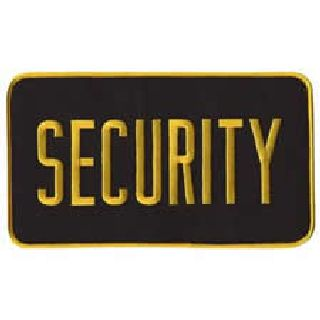 "Security - Med Gold On Black - Back Patch - 9 X 5""-"