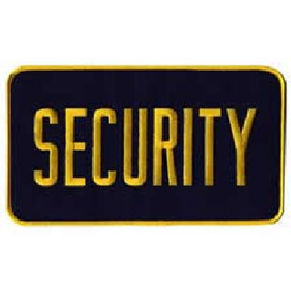 """Security - Back Patch - Med Gold On Navy - 9 X 5"""""""