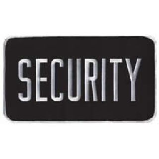 "Security - Back Patch - White On Black - 9 X 5""-"