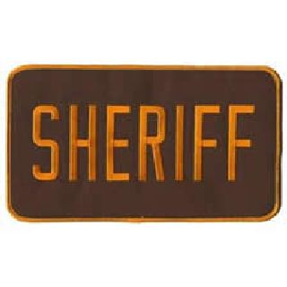 "Sheriff - Back Patch - Dark Gold On Brown Twill - 9 X 5""-Hero's Pride"