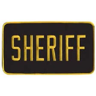 "Sheriff - Back Patch - Med. Gold On Black - 9 X 5""-Hero's Pride"