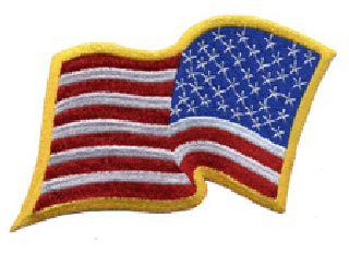 "U.S. Flag - Wavy - Reversed - Med Gold Border - 3-1/4 X 2-1/4"""