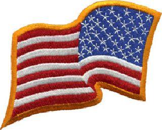 U.S. Flag - Rev - Dark Gold Border - 3-1/4 X 2-1/4-