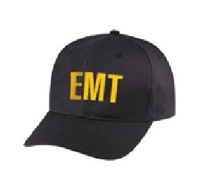 "Black Twill Cap Embr'd w/Gold ""Emt""-Hero's Pride"