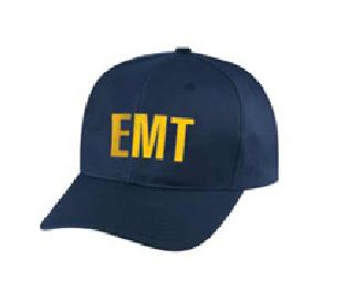 "Dark Navy Twill Cap Embr'd w/Gold ""Emt""-Hero's Pride"