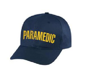 "Dark Navy Twill Cap Embr'd w/Gold ""Paramedic""-Hero's Pride"