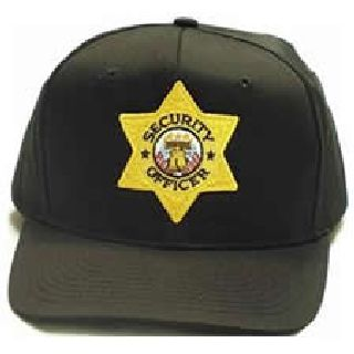 "Black All Twill Cap w/Gold ""Sec Off"" Star-Hero's Pride"