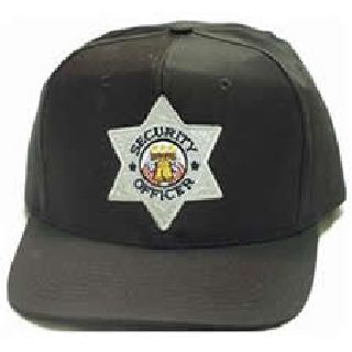 "Black All Twill Cap w/Silver ""Sec Off"" Star-Hero's Pride"
