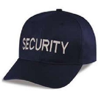"Dark Navy Twill Cap Embr'd w/Silver Grey ""Security""-"