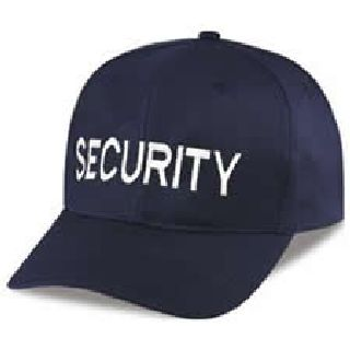 "Navy Twill Cap Embr'd w/White ""Security""-"