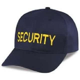 "Navy Twill/Mesh Cap Embr'd w/Med Gold ""Security""-"