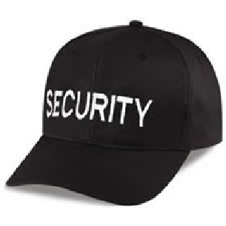 "Black Twill Cap Embr'd w/White ""Security""-Hero's Pride"