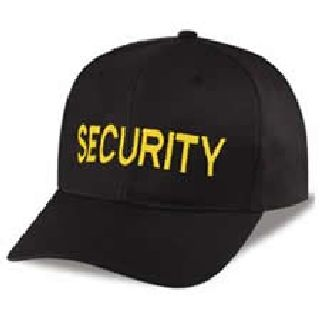 "Black Twill Cap Embr'd w/Gold ""Security""-Hero's Pride"