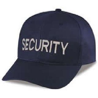 "Navy Twill Cap Embr'd w/Silver Grey ""Security"""