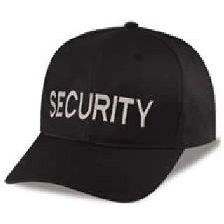 "Black Twill Cap Embr'd w/Silver Grey ""Security""-Hero's Pride"