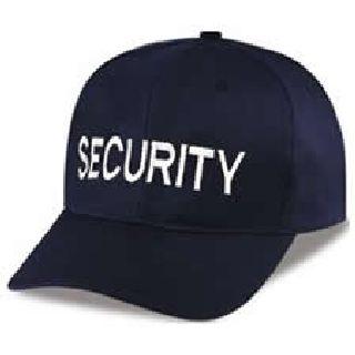 """Dark Navy Twill Cap Embr'd w/White """"Security"""""""