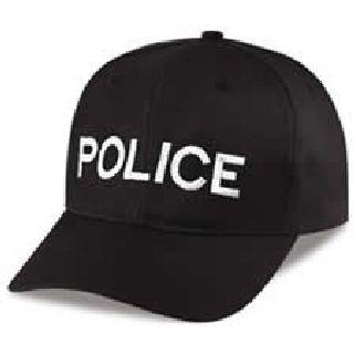 """Black Twill Cap Embr'd w/White """"Police"""""""