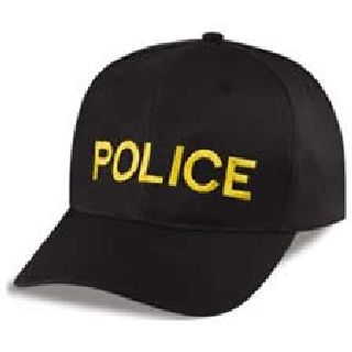 "Black Twill Cap Embr'd w/Gold ""Police""-"