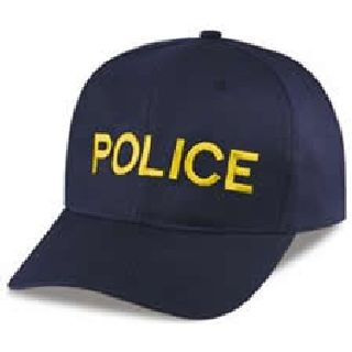 "Navy Twill Cap Embr'd w/Med Gold ""Police""-"