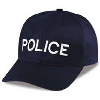 "Dark Navy Twill Cap Embr'd w/White ""Police""-Hero's Pride"
