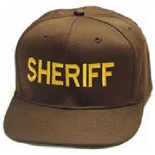 "Brown Twill Cap Embr'd w/Dk. Gold ""Sheriff""-"