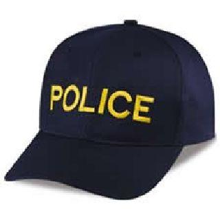 "Dark Navy Twill Cap Embr'd w/Med Gold ""Police""-Hero's Pride"