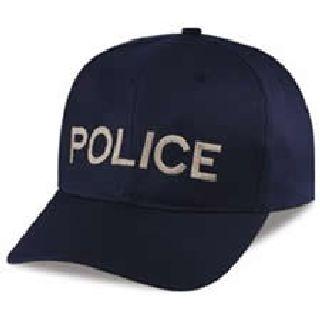 """Dark Navy Twill Cap Embr'd w/Silver Grey """"Police""""-Hero's Pride"""