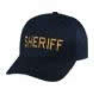 "Dark Navy Twill Cap Embr'd w/ Med Gold ""Sheriff""-Hero's Pride"