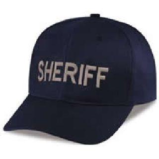 "Dark Navy Twill Cap Embr'd w/Silver ""Sheriff""-Hero's Pride"