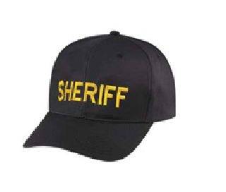 "Black Twill Cap Embr'd w/Med Gold ""Sheriff"""