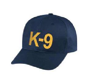 """Dark Navy Twill Cap Embr'd w/Gold """"K-9"""""""
