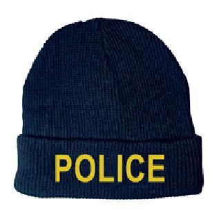 Medium Gold Lettering On Dark Navy Watch Cap-