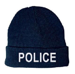 6811 White Lettering On Dark Navy Watch Cap