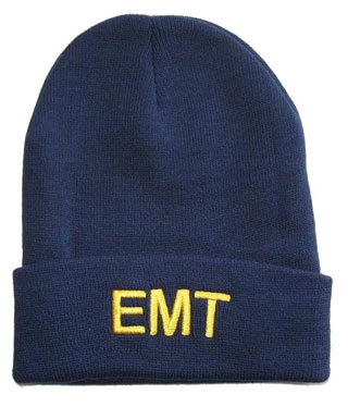6858 Medium Gold Lettering On Navy Watch Cap-
