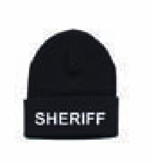 "Watch Cap - ""Sheriff"" - White On Black-"