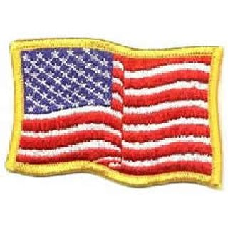 Wavy U.S. Flag - Med Gold Border