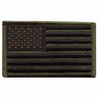 "U.S. Flag - Subdued - w/Hook - 3-3/8 X 2""-"