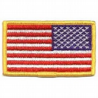 "U.S. Flag-Full Color (Reverse)-W/Hook - 3-3/8x2""-"