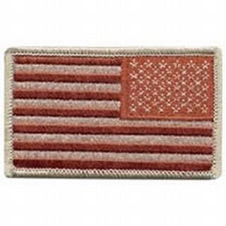 U.S. Flag - Desert (Reverse) - w/Hook - 3-3/8 X 2-