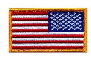 U.S. Flag - Reverse - Full Color - Dark Gold Border - 3-1/4 X 1-13/16""