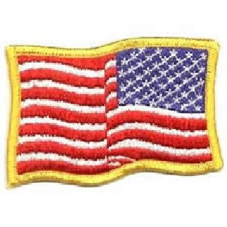 Wavy U.S. Flag - Med Gold - Reverse-
