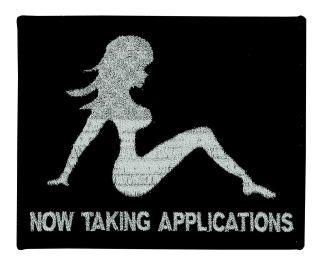 "Mud Flap Girl - Now Taking Applications - Black/silver - 5 X 4""-Hero's Pride"