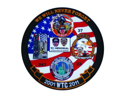 "2001 WTC 2011 We Will Never Forget - 11-3/4"" Circle-Hero's Pride"
